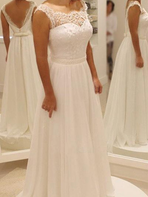 A-Line Chiffon Lace Scoop Sleeveless Sweep/Brush Train Wedding Dress
