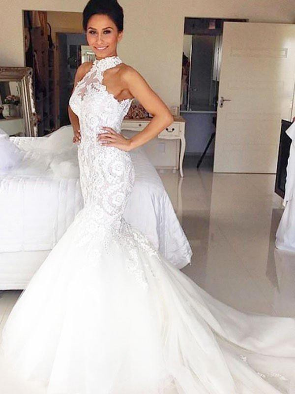 Stunning Mermaid Tulle Lace Sleeveless Halter Court Train Wedding Dress