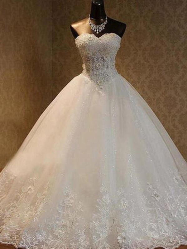 Ball Gown Tulle Sweetheart Sleeveless Floor-Length Wedding Dress