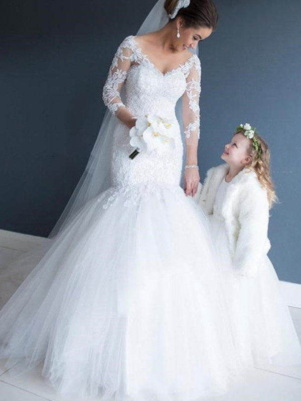 Mermaid V-neck Tulle Lace 3/4 Sleeves Court Train Wedding Dress