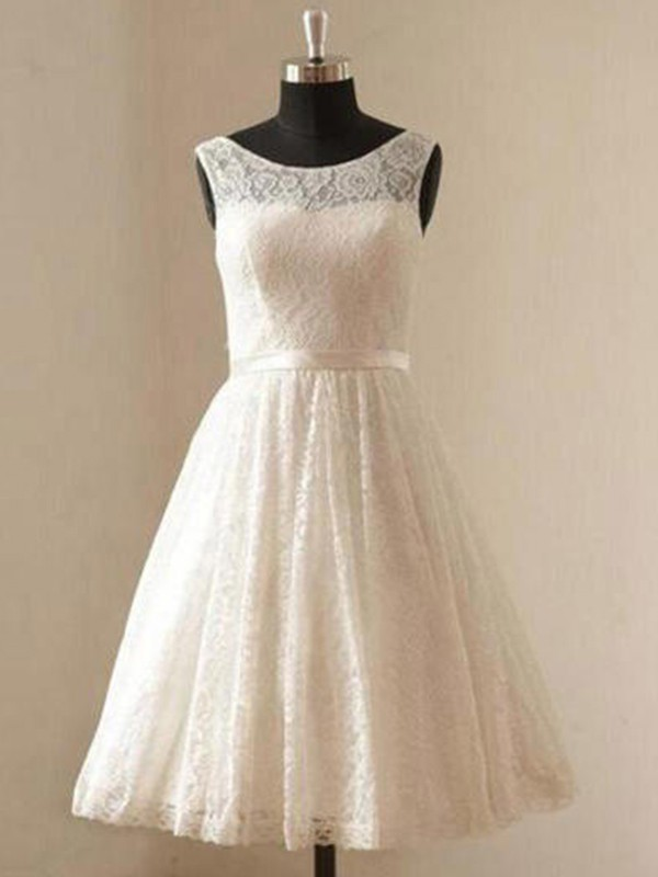 A-Line Scoop Lace Sleeveless Knee-Length Wedding Dress