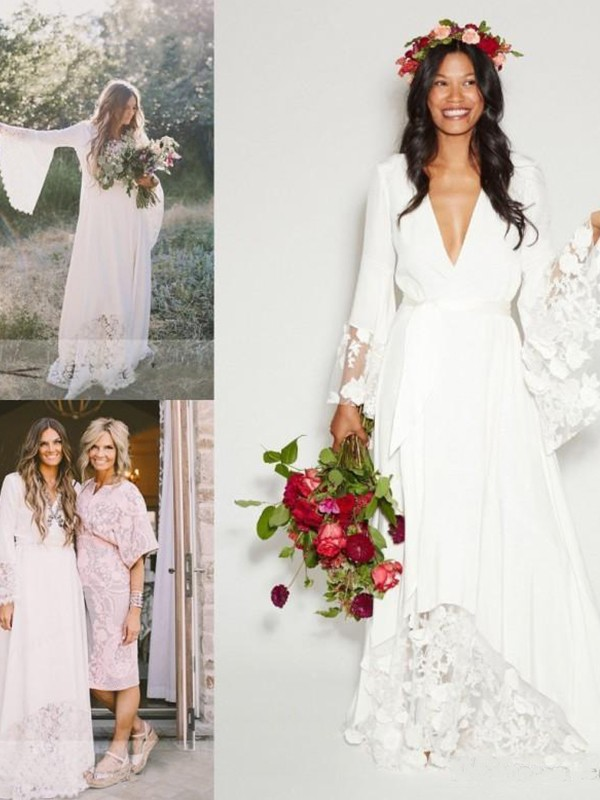 A-Line V-neck Lace Chiffon Long Sleeves Floor-Length Wedding Dress