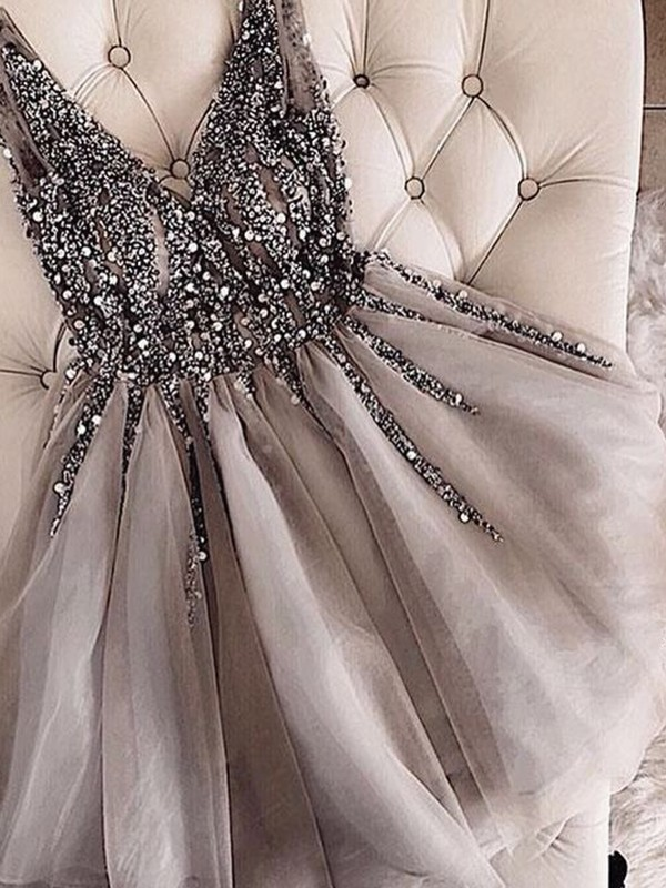 A-Line V-neck Tulle Sequin Short Dress