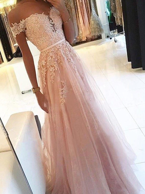 A-Line Off-the-Shoulder Sleeveless Floor-Length Applique Tulle Dresses