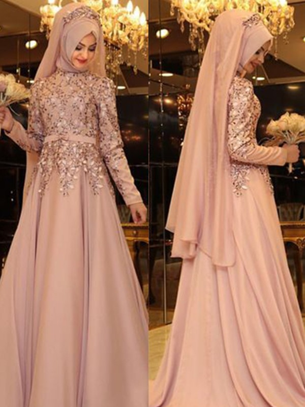 A-Line High Neck Long Sleeves Floor-Length Beading Chiffon Dresses