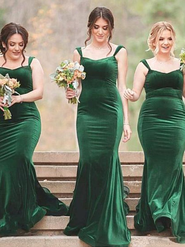 Sweep/Brush Train Sheath/Column Spaghetti Straps Sleeveless Velvet Bridesmaid Dresses