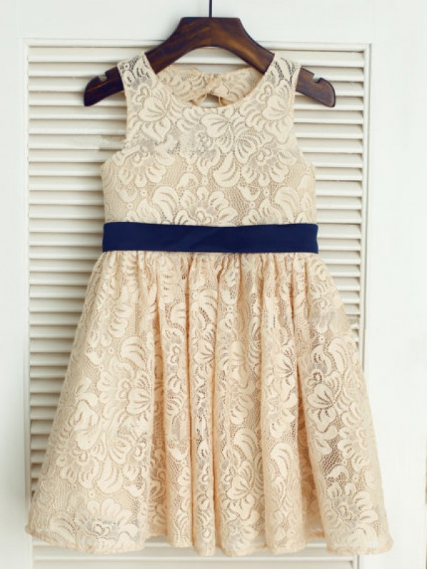 A-line Scoop Tea-length Lace Flower Girl Dress