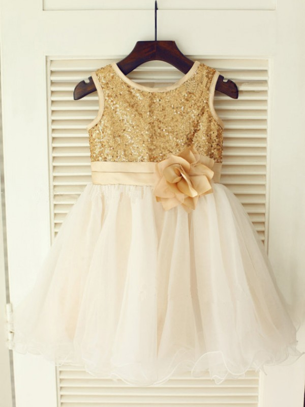 A-line Scoop Tea-length Organza Flower Girl Dress