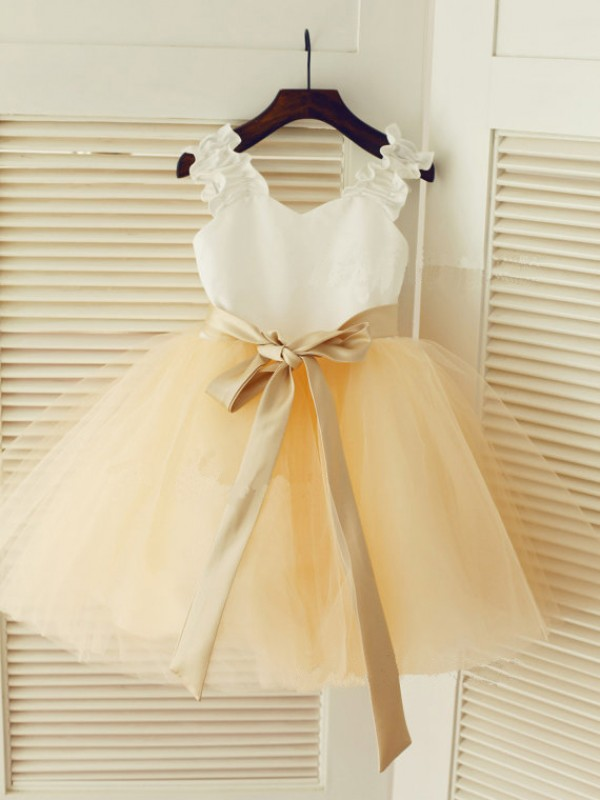 Straps Ball Gown Tea-length Tulle Flower Girl Dress