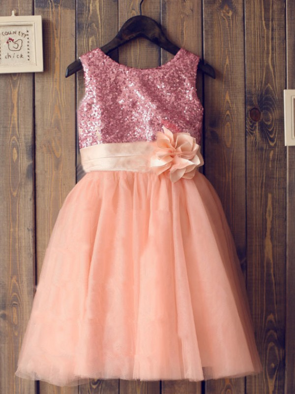 A-line Scoop Tulle Knee-Length Flower Girl Dress