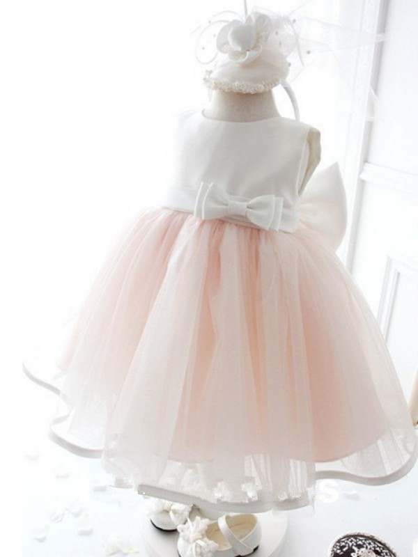 Ball Gown Jewel Tea-length Organza Flower Girl Dress