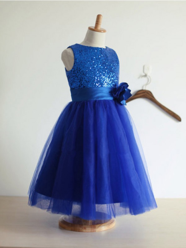 A-line Jewel Tulle Tea-Length Flower Girl Dress