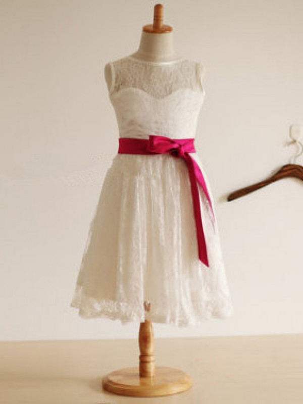 Jewel A-line Tea-length Lace Flower Girl Dress