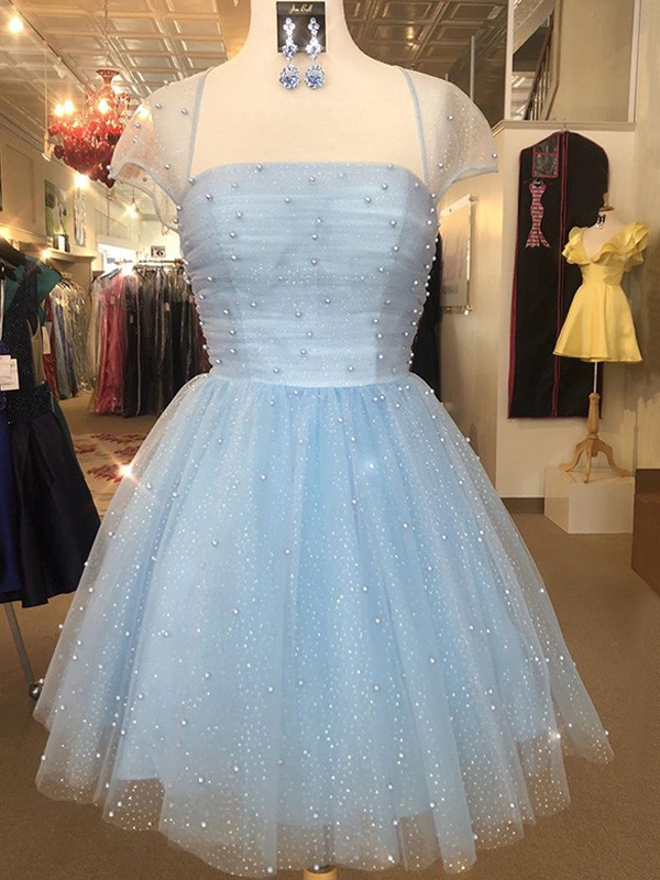 A-Line/Princess Tulle Strapless Beading Short/Mini Dresses
