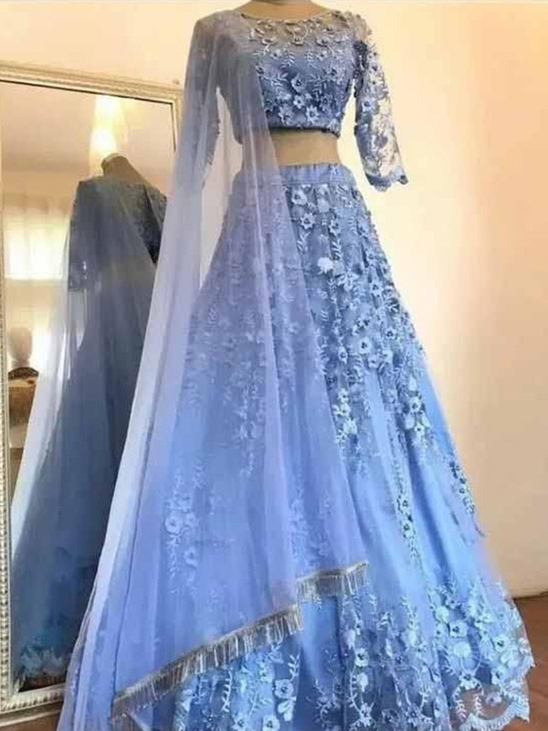 A-Line Tulle Applique Scoop 3/4 Sleeves Floor-Length Two Piece Dresses