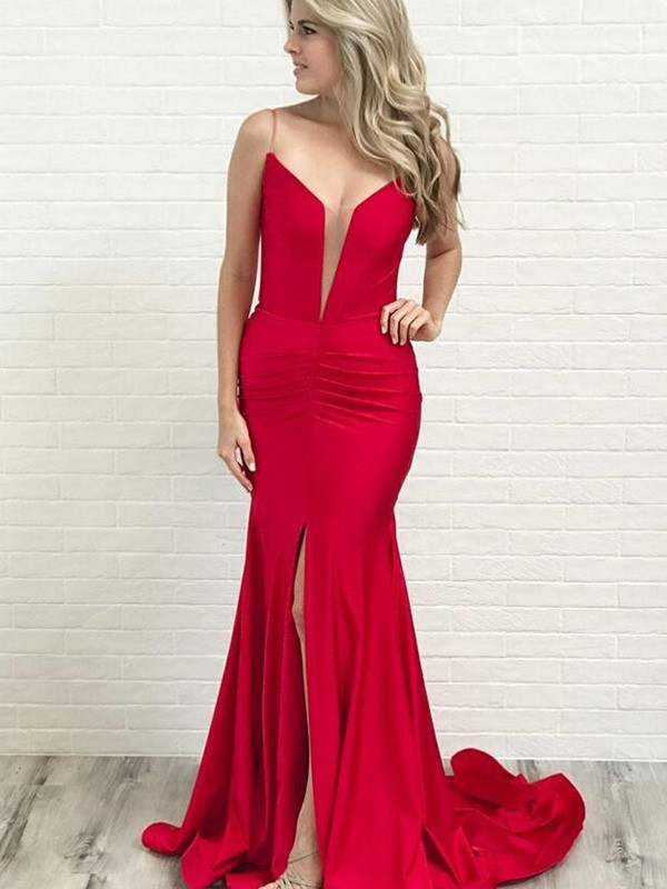 A-Line Spaghetti Straps Ruched Satin Court Train Dresses
