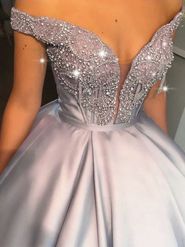 Ball Gown Beading Satin Off-the-Shoulder Floor-Length Dresses