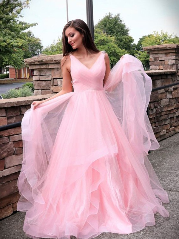 A-Line Tulle Ruched Sweep/Brush Train V-neck Dresses