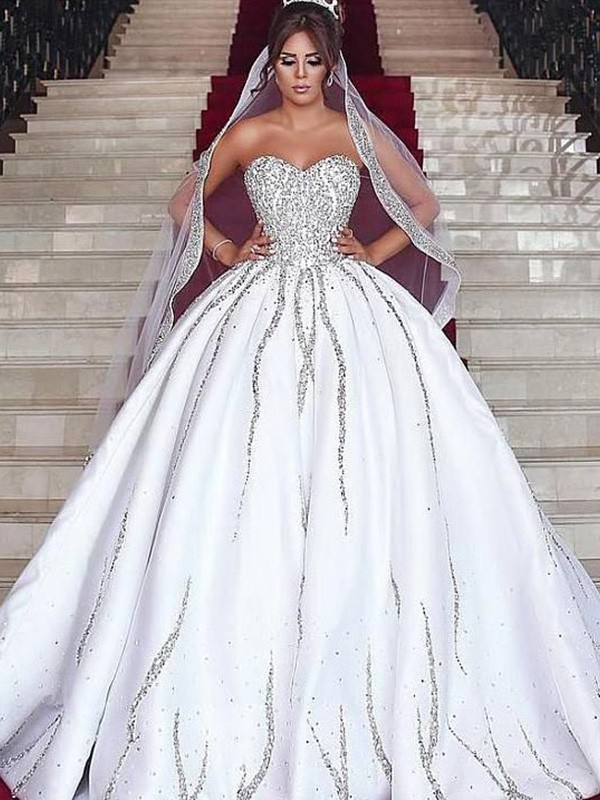 Ball Gown Sweetheart Sleeveless Sweep/Brush Train Satin Beading Wedding Dresses