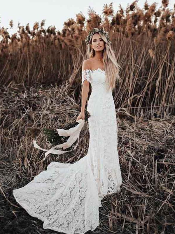 Mermaid Off-the-Shoulder Short Sleeves Court Train Lace Applique Wedding Dresses