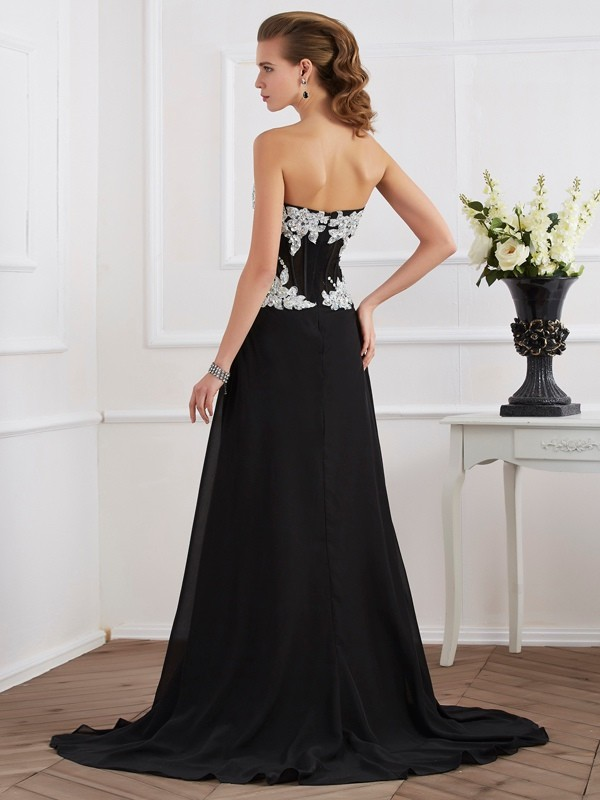 Sheath/Column Sweetheart Sleeveless Beading Applique Long Chiffon Dresses