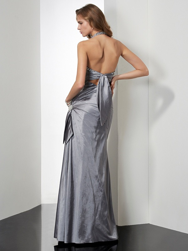 Trumpet/Mermaid Halter Sleeveless Beading Long Taffeta Dresses