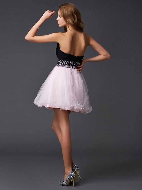 A-Line/Princess Beading Sweetheart Sleeveless Short Elastic Woven Satin Dresses