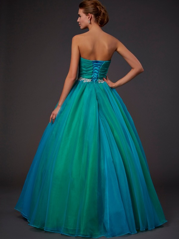 Ball Gown Sweetheart Sleeveless Long Beading Organza Quinceanera Dresses