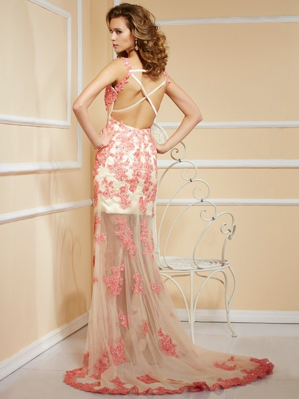 Sheath/Column Straps Sleeveless Applique Long Net Dresses