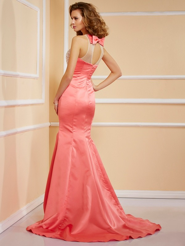 Sheath/Column Jewel Sleeveless Beading Long Satin Dresses