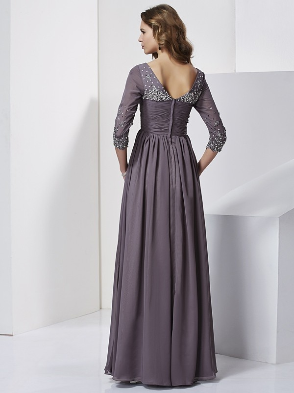 Sheath/Column V-neck Beading 3/4 Sleeves Long Chiffon Dresses