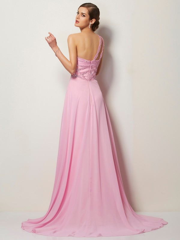 A-Line/Princess One-Shoulder Sleeveless Long Beading Chiffon Dresses