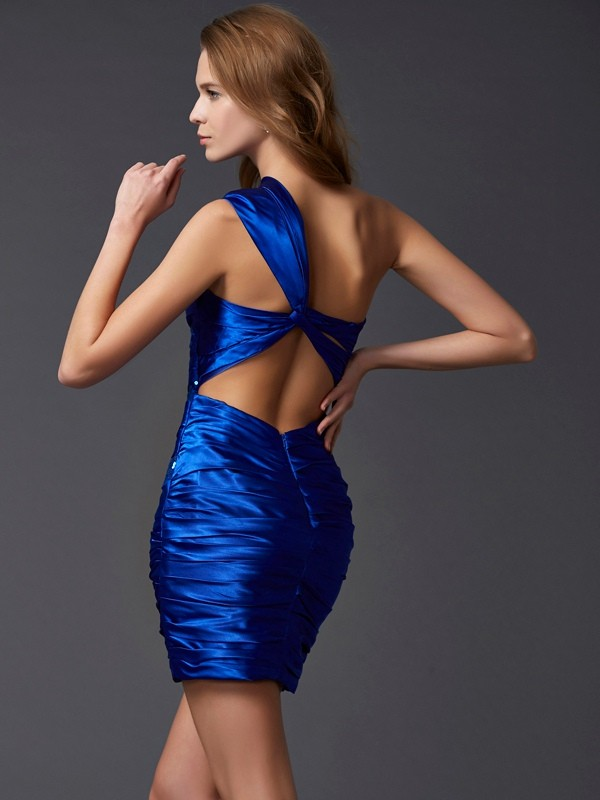 Sheath/Column One-Shoulder Sleeveless Paillette Short Silk like Satin Dresses