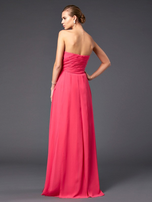 Sheath/Column Sweetheart Sleeveless Ruffles Long Chiffon Dresses