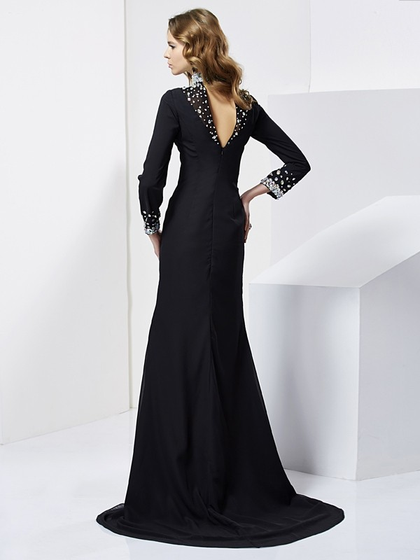 Sheath/Column High Neck Long Sleeves Rhinestone Long Chiffon Dresses
