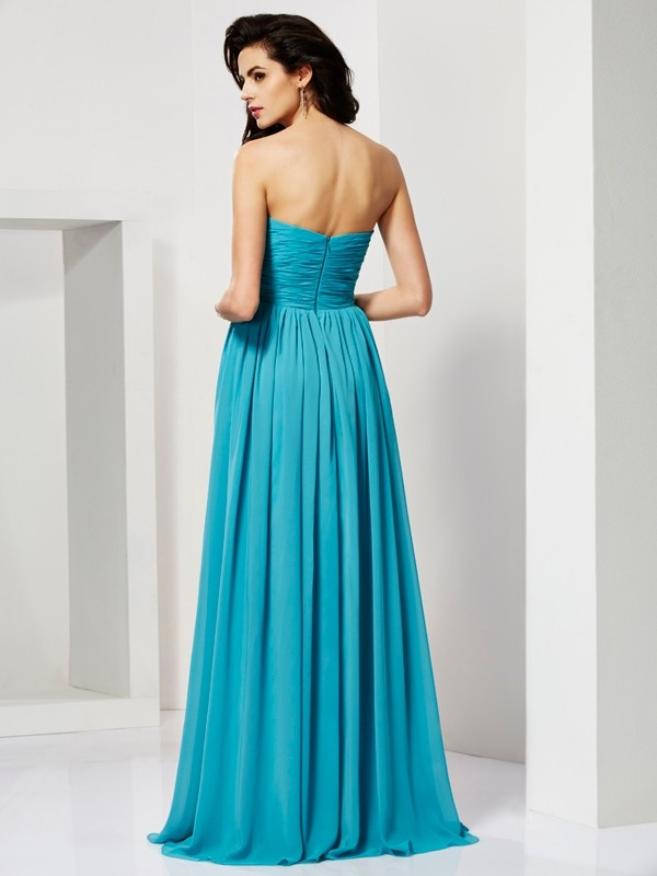 A-Line/Princess Pleats Sweetheart Sleeveless Long Chiffon Dresses