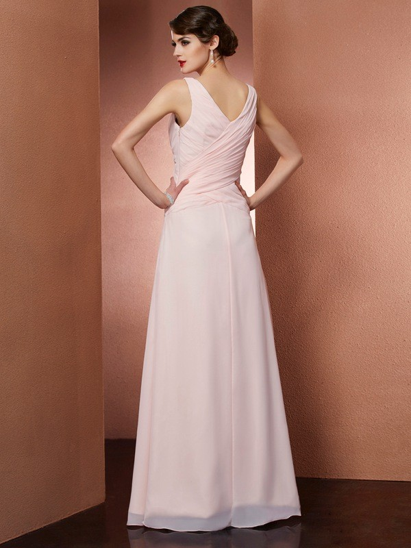 A-Line/Princess V-neck Sleeveless Pleats Long Chiffon Dresses