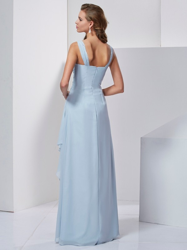 A-Line/Princess Straps Sleeveless Beading Long Chiffon Dresses