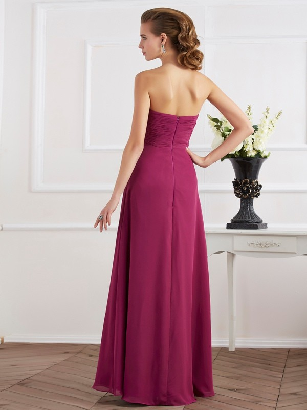 Sheath/Column Sweetheart Sleeveless Long Chiffon Dresses