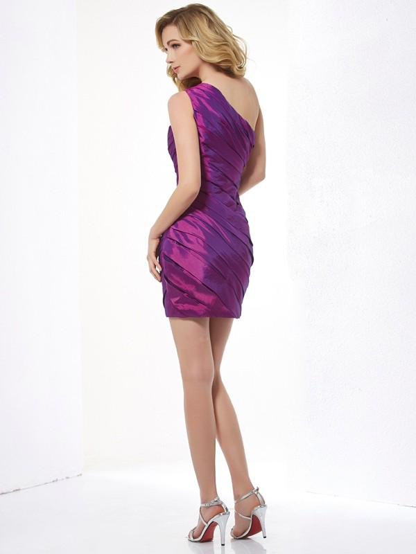 Sheath/Column One-Shoulder Sleeveless Ruched Short Taffeta Dresses