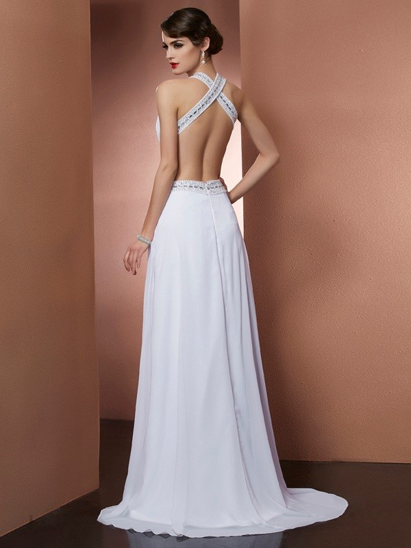 A-Line/Princess Bateau Sleeveless Beading Long Chiffon Dresses