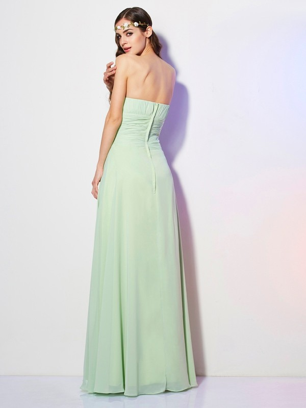 A-Line/Princess Strapless Sleeveless Pleats Long Chiffon Bridesmaid Dresses