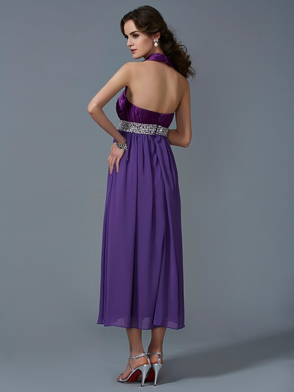 A-Line/Princess Halter Sleeveless Beading Long Chiffon Bridesmaid Dresses