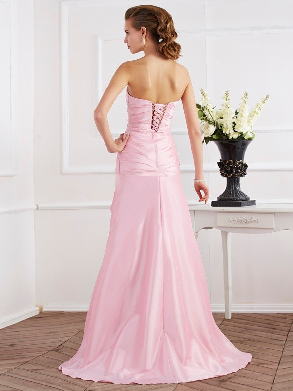 Trumpet/Mermaid Strapless Sleeveless Beading Long Taffeta Dresses