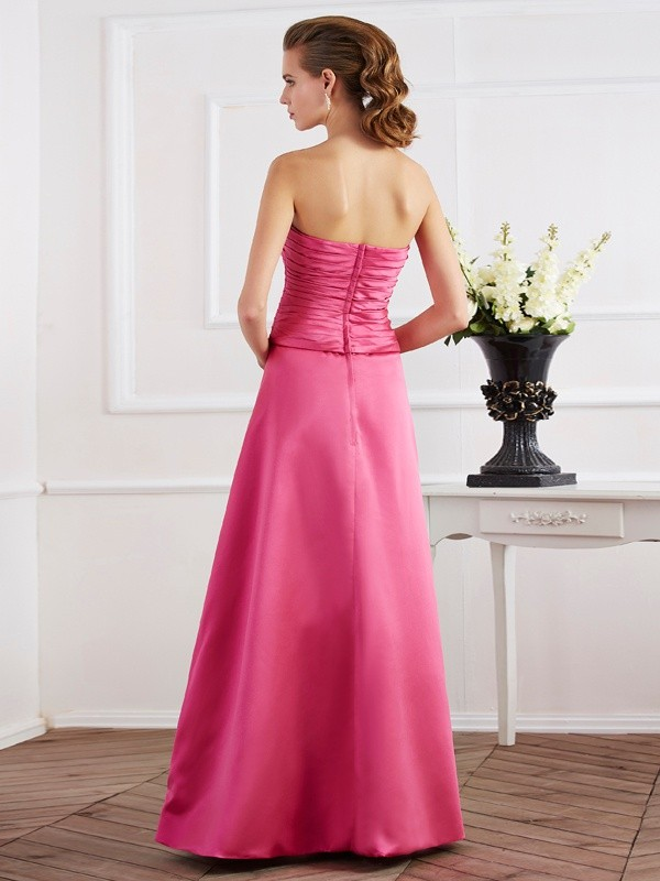 Sheath/Column Strapless Sleeveless Pleats Long Satin Dresses