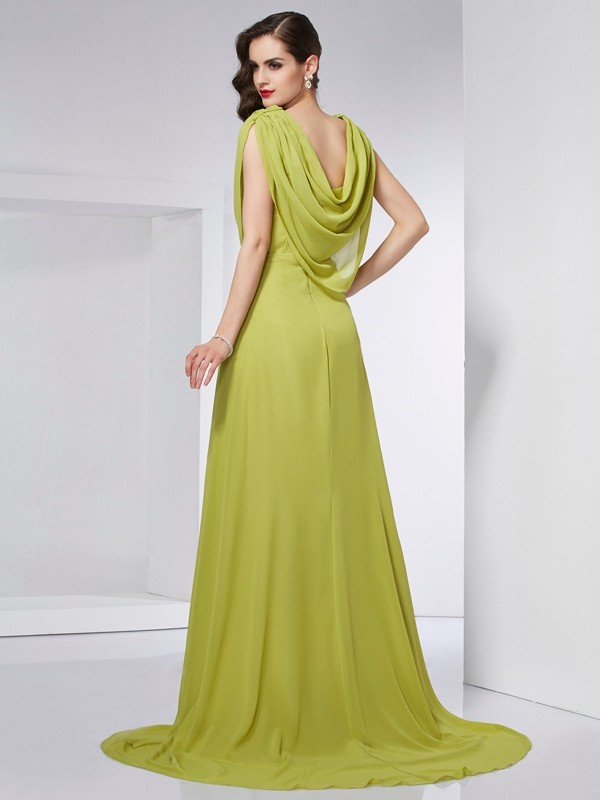 A-Line/Princess High Neck Sleeveless Pleats Long Chiffon Dresses