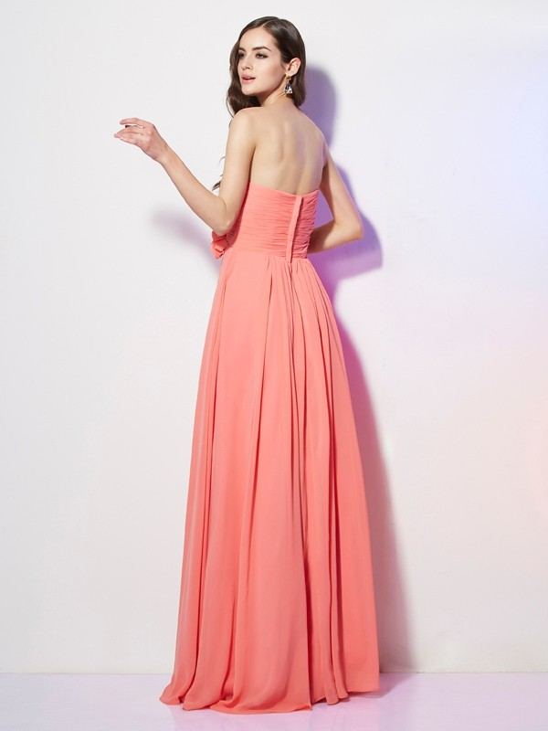 A-Line/Princess Sweetheart Sleeveless Hand-Made Flower Long Chiffon Dresses