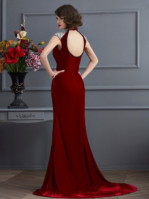 A-Line/Princess High Neck Sleeveless Beading Long Dresses