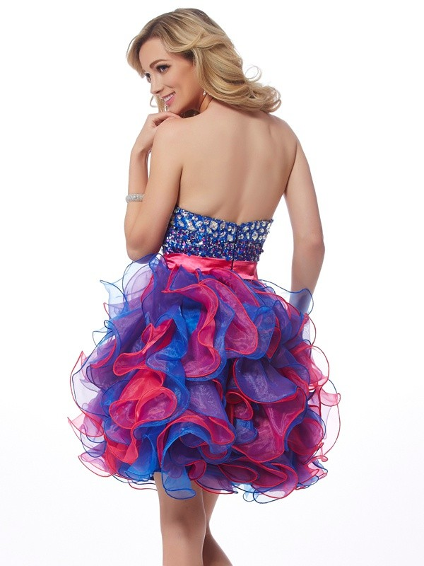 A-Line/Princess Sweetheart Sleeveless Sequin Short Organza Dresses