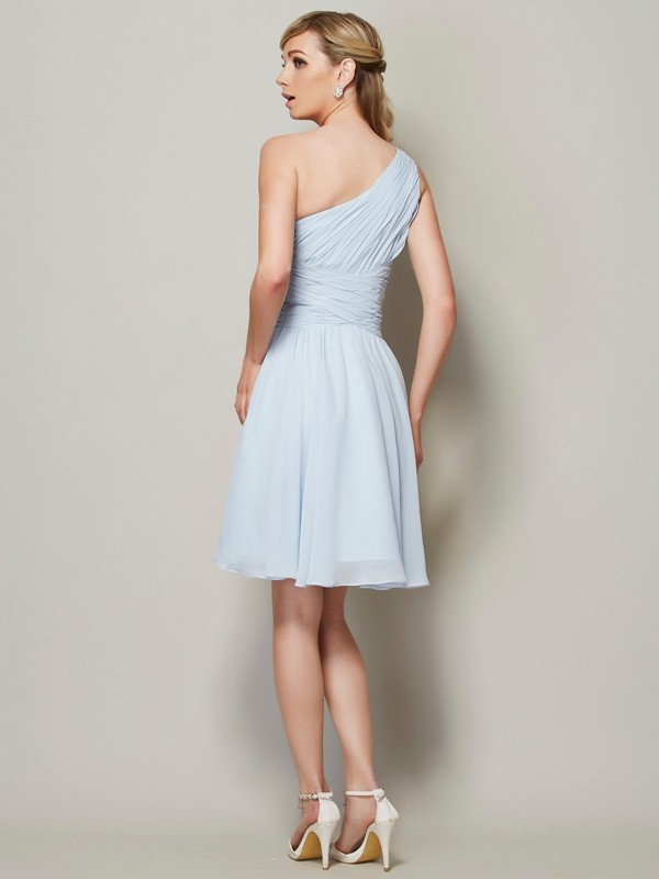 A-Line/Princess One-Shoulder Sleeveless Ruched Short Chiffon Bridesmaid Dresses